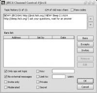 Channel dialog